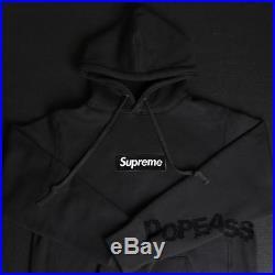 New Black Bogo Supreme Box Logo Hoodie Pullover Sweater Size L Large Hoody