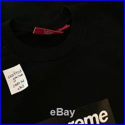 New Supreme Black On Black Box Logo SCREEN-PRINT Raglan Crewneck Large