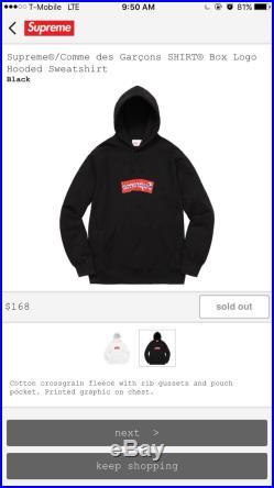 New Supreme Box Logo Comme des Garcons Hooded sweatshirt Black Size Medium SS17