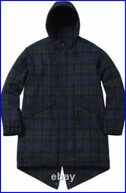 New Supreme Harris Tweed Fishtail Parka Blackwatch Plaid M Fw16 Box Logo S