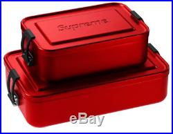 New Supreme Ss18 Sigg Metal Storage Box Small And Large Set Lot Box Logo Red