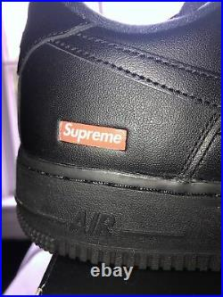 Nike Air Force 1 Low Supreme Black Box Logo CU9225001 Size 9 NEW IN HAND