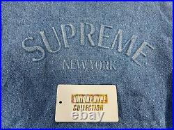Pre-owned Supreme 2018 Ss Denim Varsity Jacket Coat Box Logo Tab Blue M Medium
