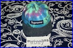RARE! S/S'13 Supreme Tie Dye Camp Hat Cap Black Box Logo in Blue AUTHENTIC