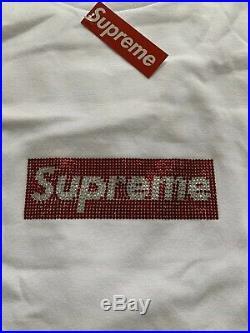 SS19 Supreme x Swarovski 25th Box Logo T-Shirt White Size X-Large