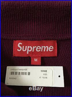 SS2012 Supreme Stripe Button Cardigan Sweater Wine Red RARE! Box logo camp cdg