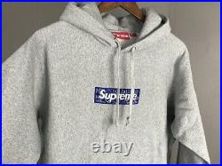 SUPREME 19FW Bandana Box Logo Hoodie Gray Size Medium