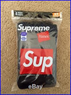 SUPREME 2015 BOX LOGO HANES BOXER BRIEFS PACK OF 4 BLACK M MEDIUM BRAND NEW