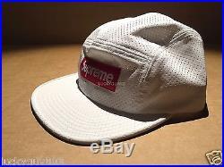 Supreme 2016 S/s Perforated Reflective Box Logo Snapback Hat White Camp Cap