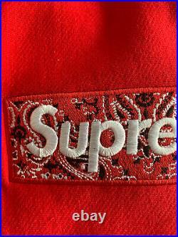 SUPREME Box Logo Bandana Hoodie Large (RED)