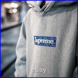 SUPREME Box Logo Bandana Hoodie XLarge (Gray)