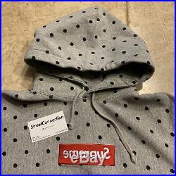 SUPREME COMME des GARCONS Box Logo Hoodie Poka Dot Grey SS12 XL AUTHENTIC CDG