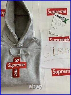 SUPREME Cross Box Logo Hoodie Large (Gray)