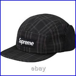 SUPREME Fleece Lined Ear Flap Camp Cap Black S/M Box Logo hoodie safari F/W 14