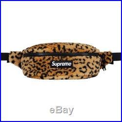 SUPREME Leopard Fleece Waist Bag Red Yellow box logo camp cap tnf F/W 17