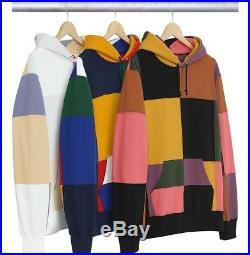 SUPREME Patchwork Hooded Sweatshirt Black Navy M box logo camp cap F/W 17