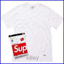Supreme S/s F/w Cdg Box Logo Hanes Tee White Pcl Shirt Pack Of 3 Sz S-xl Ds