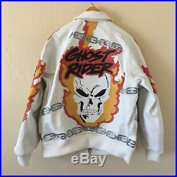 SUPREME Vanson Leather Ghost Rider Jacket White Large Box Logo marvel RARE NEW