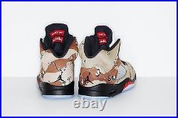SUPREME x Air Jordan 5 V Retro Camo Size 8 box logo camp cap tnf F/W 15