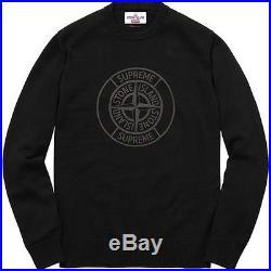 SUPREME x Stone Island Reflective Compass Sweater Black M box logo camp S/S 16