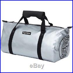 SUPREME x Stone Island x Ortlieb PVC Duffle Bag Silver box logo camp cap S/S 16
