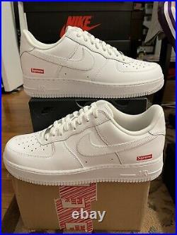 Size 10 Nike Air Force 1 Low x Supreme Box Logo White 2020