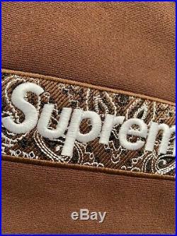 Suprem Bandana Box Logo Hooded Size L Brown Hoodie