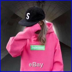 Supreme 17FW Pink Box Logo hoodie Size X-Large