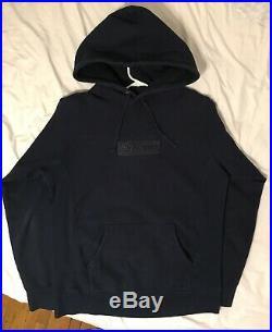 Supreme 2014 F/W Navy Tonal Box Logo Hoodie Size Medium