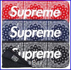 Supreme 2014 F/w Box Logo Tnf Paisley Bandana Dolomite Sleeping Bag Black Red