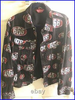 Supreme 666 Denim Trucker Jacket Black M Medium Ss17 2017 Button Up Red Box Logo