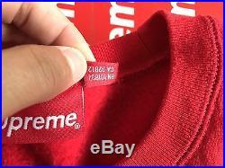 Supreme BOX LOGO Crewneck Sweatshirt RED FW 15 SIZE LARGE 100% AUTHENTIC
