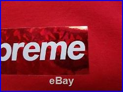 Supreme BOX LOGO red HOLOGRAPHIC Tee Shirt sz LARGE Red / Red 100% Hoody FW 17 $