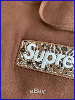 Supreme Bandana Box Logo Hooded Size M Brown Hoodie