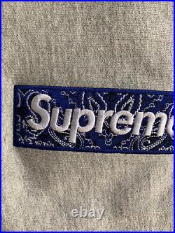 Supreme Bandana Box Logo Hooded Size XL Gray Hoodie