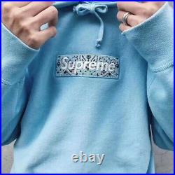 Supreme Bandana Box Logo Hooded Size XL Sky Blue Hoodie