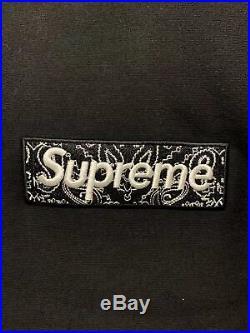 Supreme Bandana Box Logo Hooded Sweatshirt Black Sz L (See description)