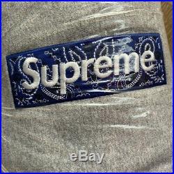 Supreme Bandana Box Logo Hooded Sweatshirt Heather Grey Large F/W19 BNWT In Hand