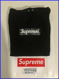 Supreme Bandana Box Logo Hoodie Black FW19 Size Large