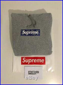 Supreme Bandana Box Logo Hoodie Grey FW19 Size Large