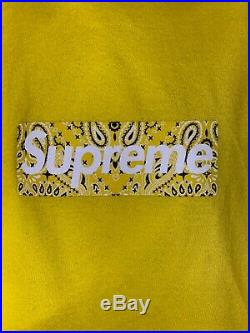 Supreme Bandana Box Logo Tee FW19 Yellow MEDIUM IN HAND PAISLEY