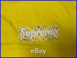 Supreme Bandana Box Logo Yellow T-Shirt X-Large FW19 Authentic New
