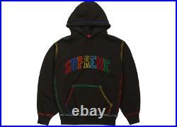 Supreme Big Stitch Hooded Sweatshirt Black Box Logo Arc Logo Size Large Hoodie