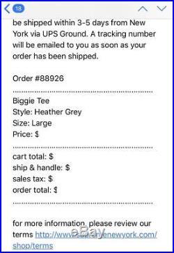 Supreme Biggie Tee Heather Grey Used Large F/W 2011 Box Logo