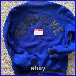 Supreme Blue Fleece Bomber Varsity Jacket Large L Black Box Logo polartec