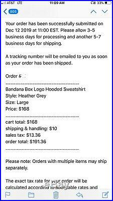 Supreme Box Logo Bandana Hoodie FW19 Heather Grey Large Order Confirmed