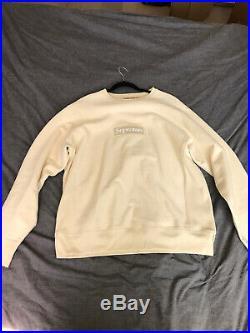 Supreme Box Logo Crewneck FW18 Size Large Natural Color Great Condition