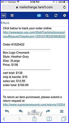 Supreme Box Logo Crewneck Gray Size XLarge F/W 2015 BOGO CDG TEE NEW