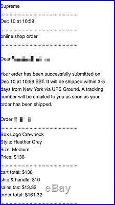 Supreme Box Logo Crewneck Heather Grey FW 15 Size Medium + FREE FEDEX SHIPPING