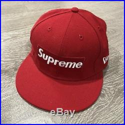 Supreme Box Logo Fitted Cap Hat New Era 59 Fifty 7 3/8 Red Rare Baseball Hat